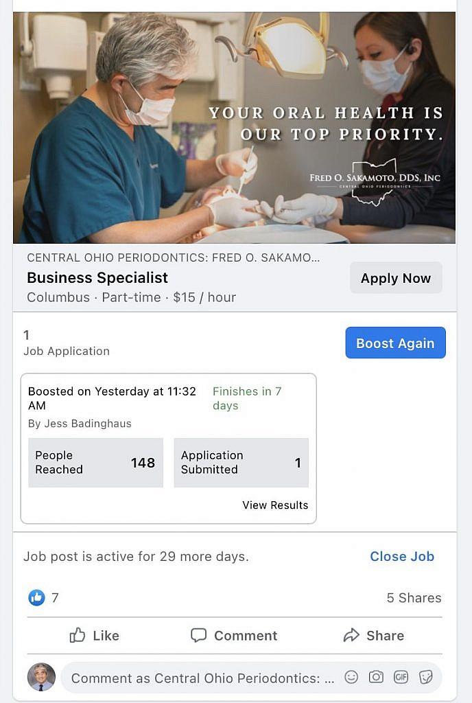 Boosting a job posting on Facebook