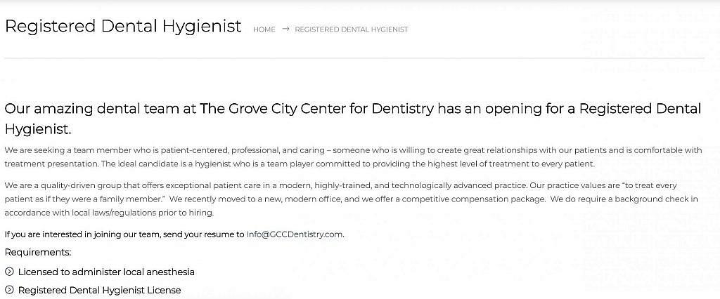 Job posting on dental website